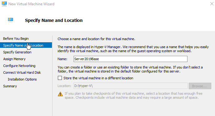 Hyper-V Specify Name and Location