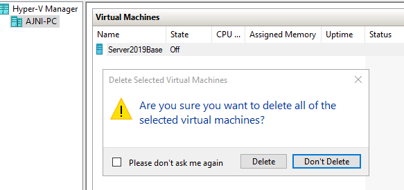 Hyper-V delete Virtual Machine