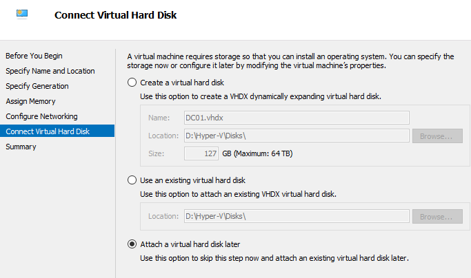 Attach a virtual Disk later