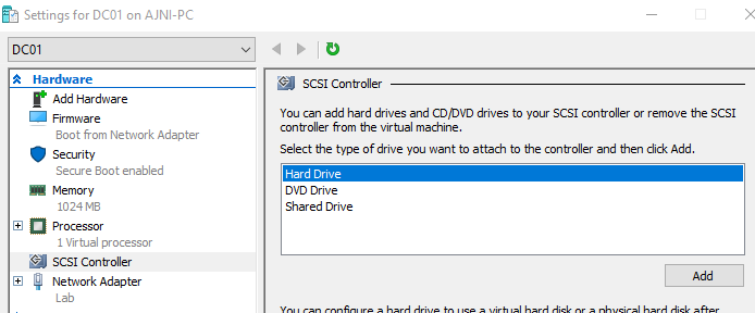 Hyper-V VM Settings New Hard Drive