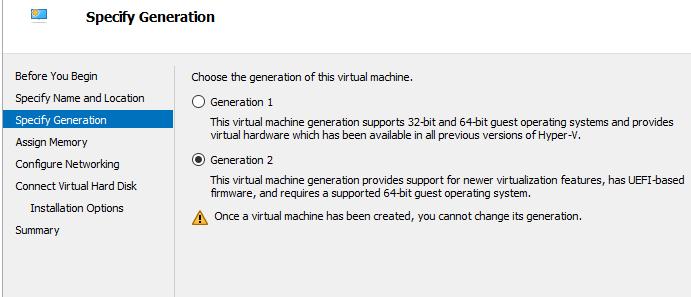 Hyper-V specify VM generation