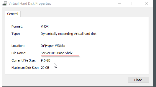 Hyper-V Virtual Hard Disk Properties
