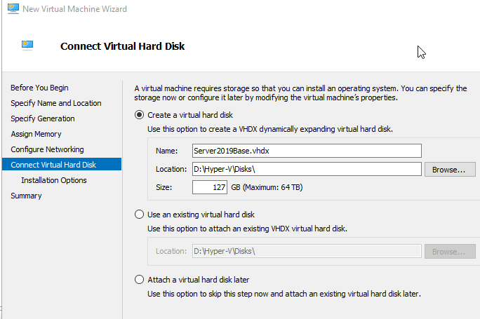 Hyper-V Connect Virtual Hard Disk