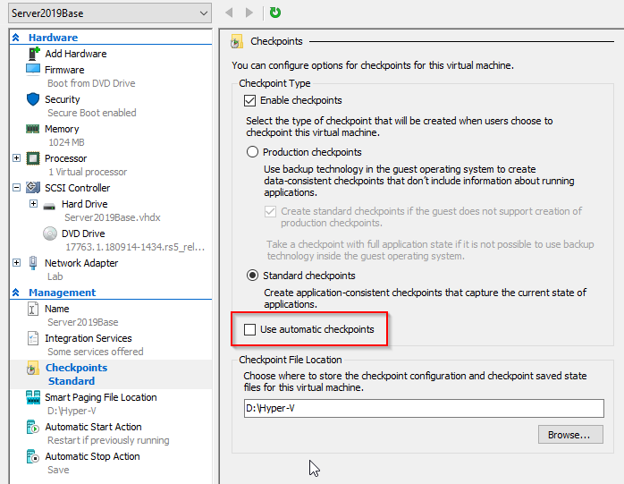 Hyper-V VM Settings-Checkpoints